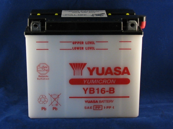 battery yuasa 900r/ mille electric start models yb16-b 19ah l175x h155 x w100