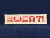 ducati 80's badge white & red 130 x 30mm sew/ iron on